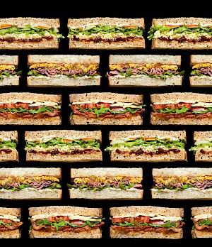 Photograph of rows of sandwiches