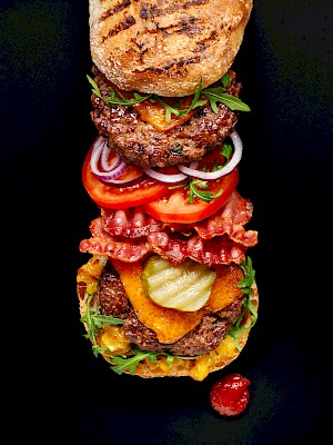 Photograph of a deconstructed burger