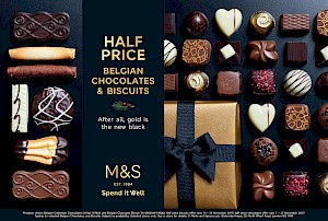 Photographs of M&S chocolates with a box and black ribbon, and biscuit selection