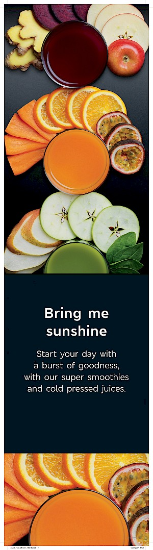 Bring Me Sunshine advert, photograph of 3 juices with ingredients