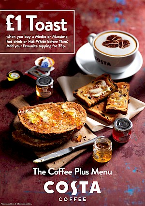 Photograph of toasts, spreads and a flat white